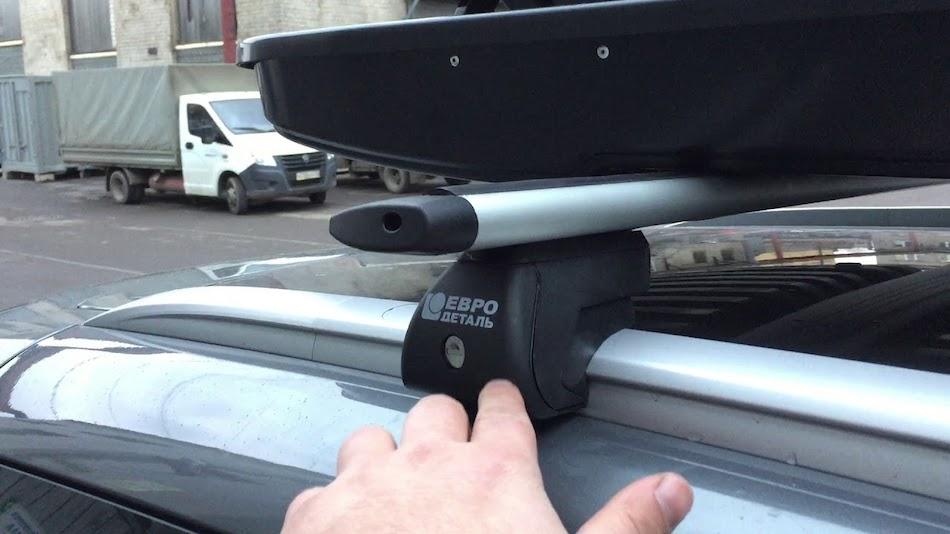 Автобагажник «Евродеталь» на крышу автомобиля с водосточными желобками