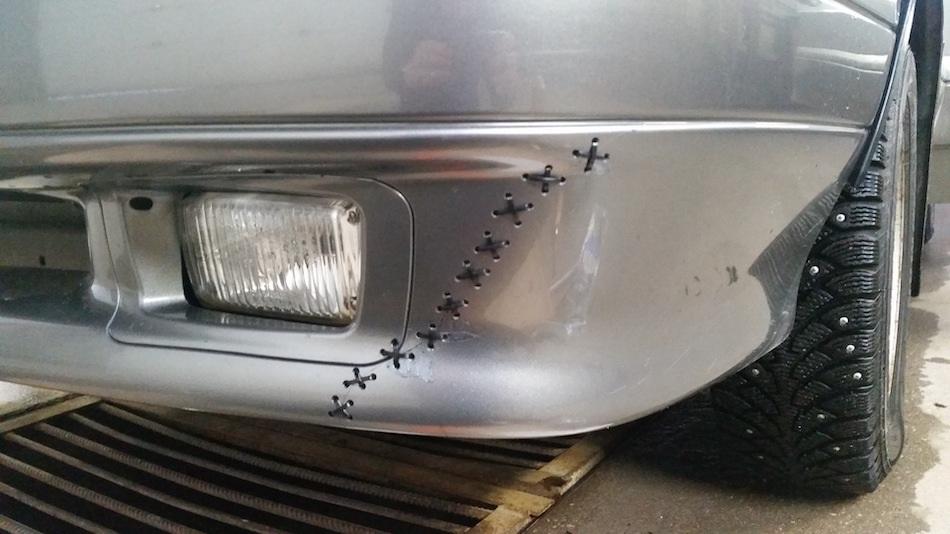 как зашить бампер на машине