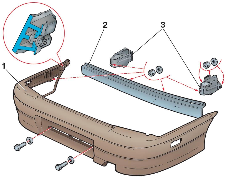 Схема крепление бампера на ВАЗ 2114, 2115