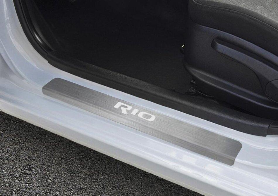 Накладки на пороги Rival для Kia Rio lll 2011-2015 2015-2017 нерж. сталь