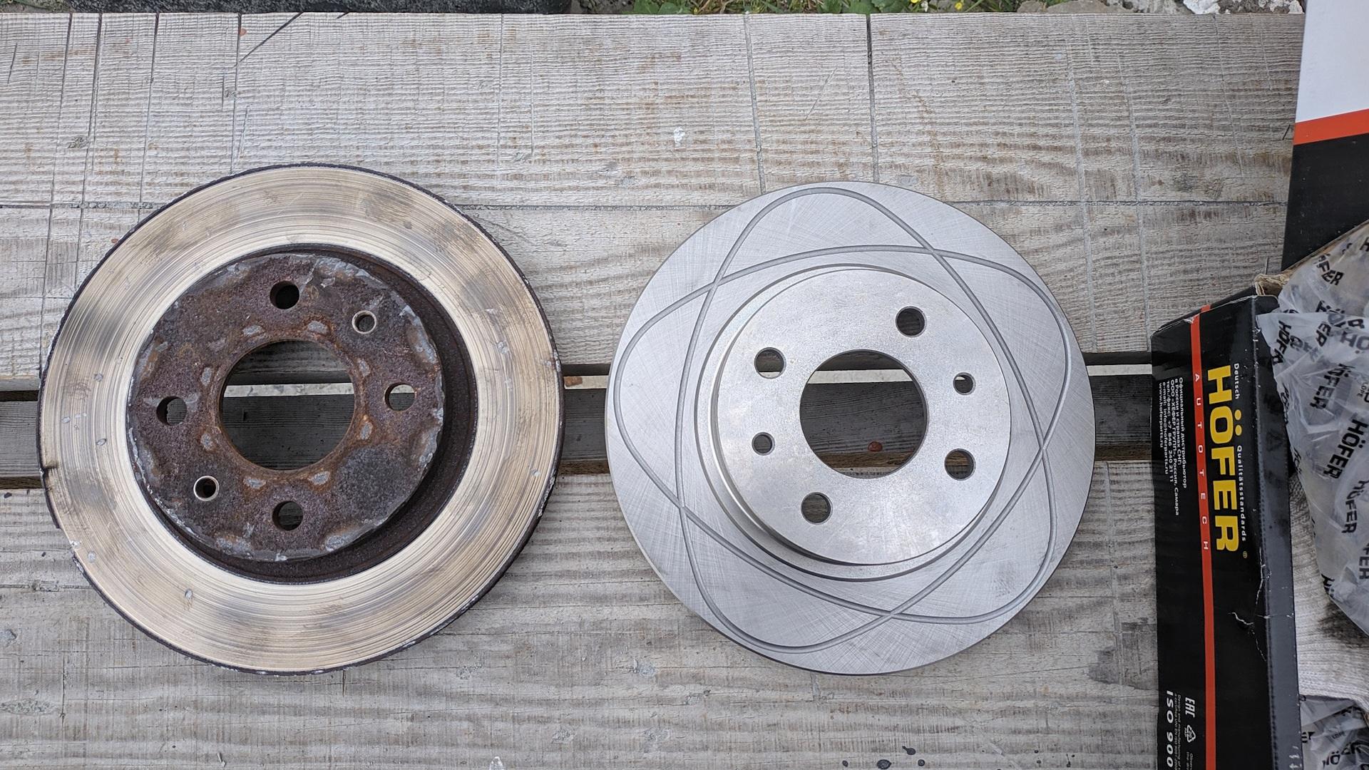 Старые и новые тормозные диски на Лада Калина Хэчбек