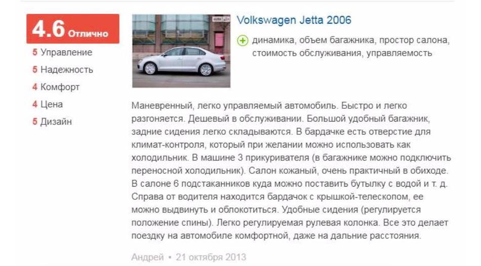 Отзывы о «Фольксваген Джетте» 2006