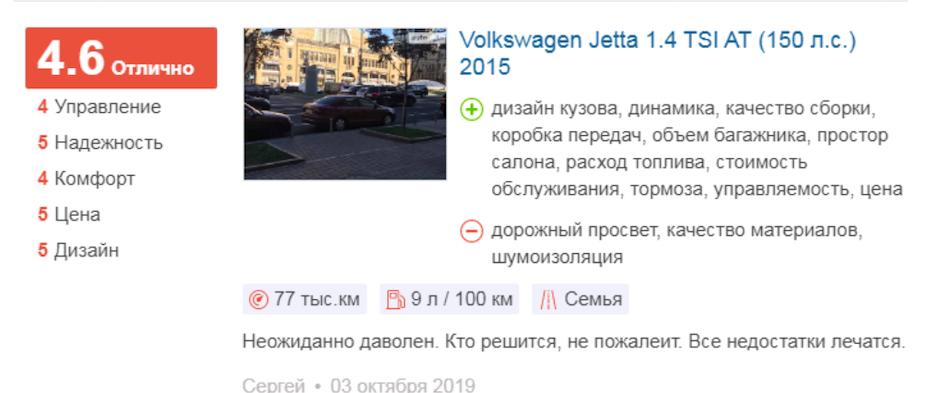 «Фольксваген Джетта» 2015 года АКПП – отзыв владельца