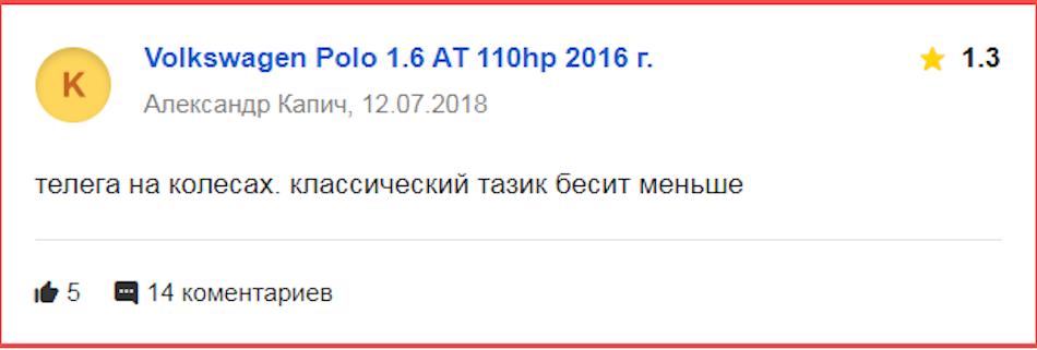 Негативный отзыв про «Фольксваген Поло» 2016 года