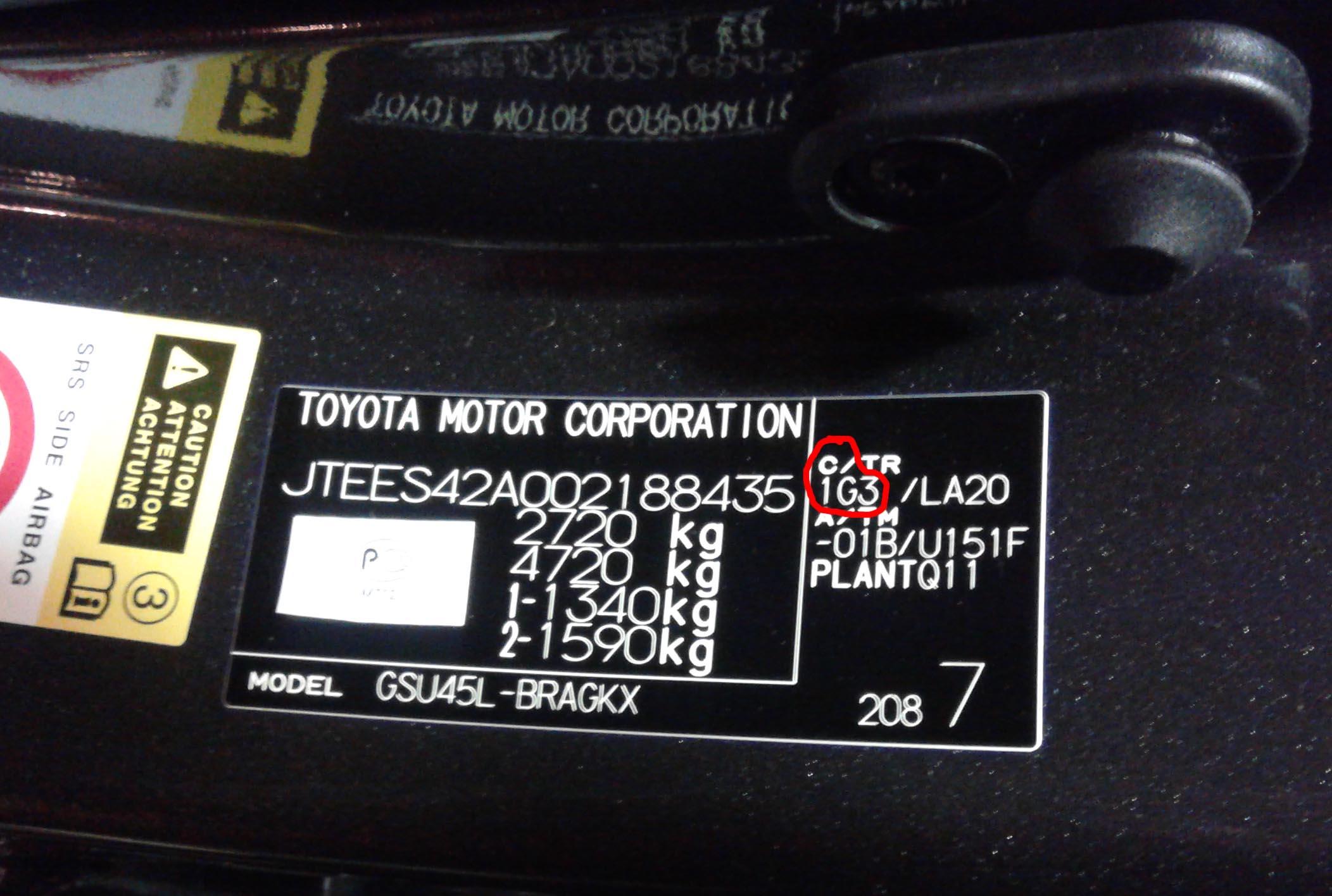 Код краски на табличке Toyota