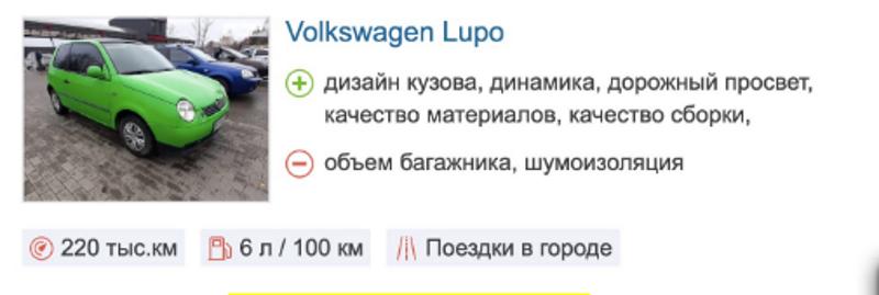 Отзыв о Volkswagen Lupo автомат