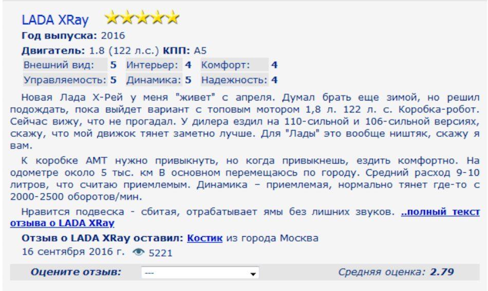 Отзыв на использование LADA XRAY