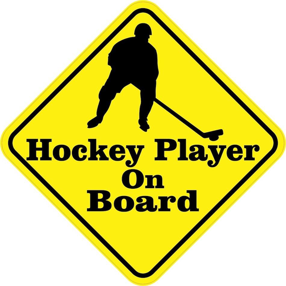 Хоккейный плеер на доске — предупреждающая автомобильная наклейка из ПВХ