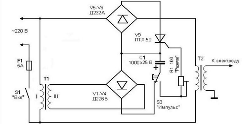 Электрическая схема споттера из микроволновой печи