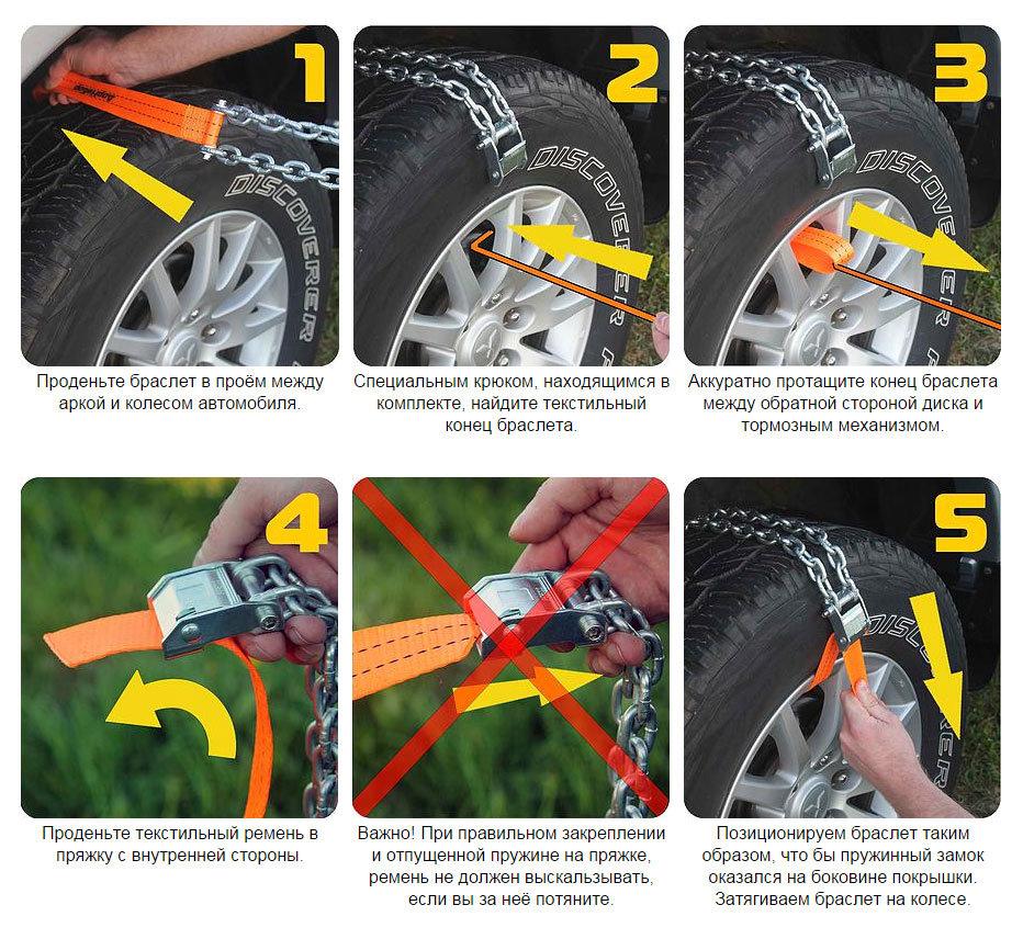 Инструкция по установке браслетов противоскольжения