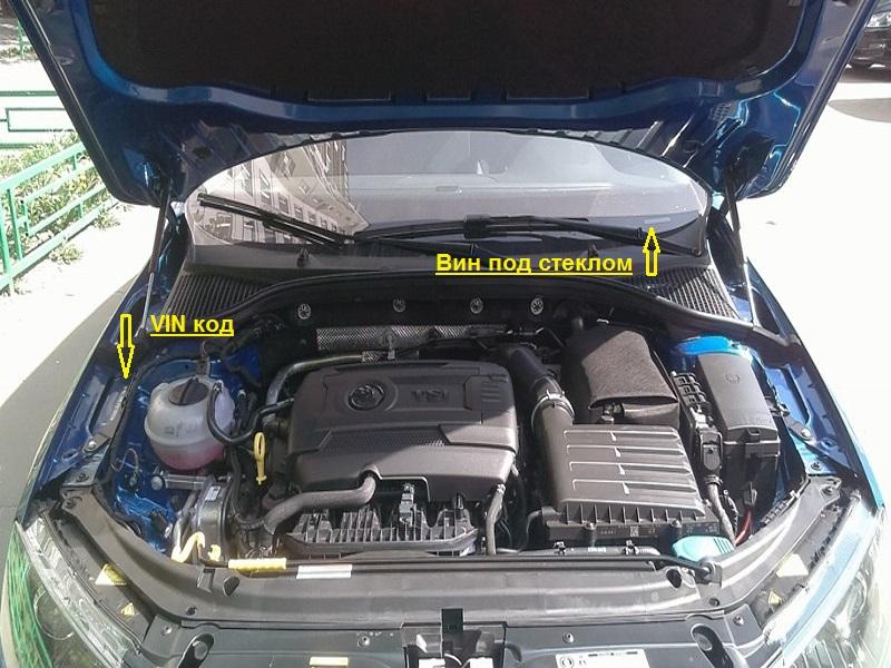 Расположение ВИН-номера в автомобиле «Шкода»