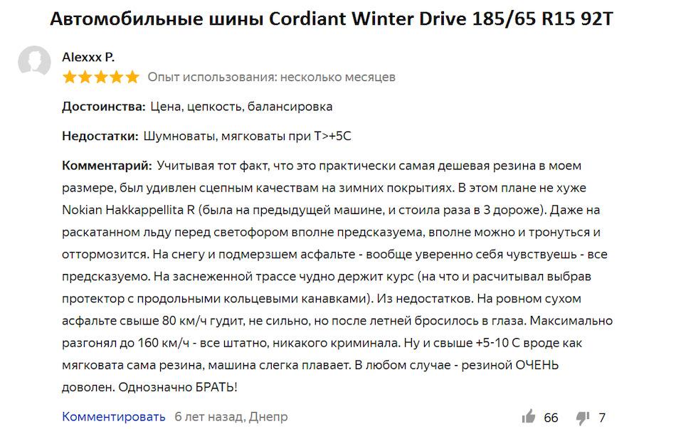 Отзывы на Cordiant Winter Drive