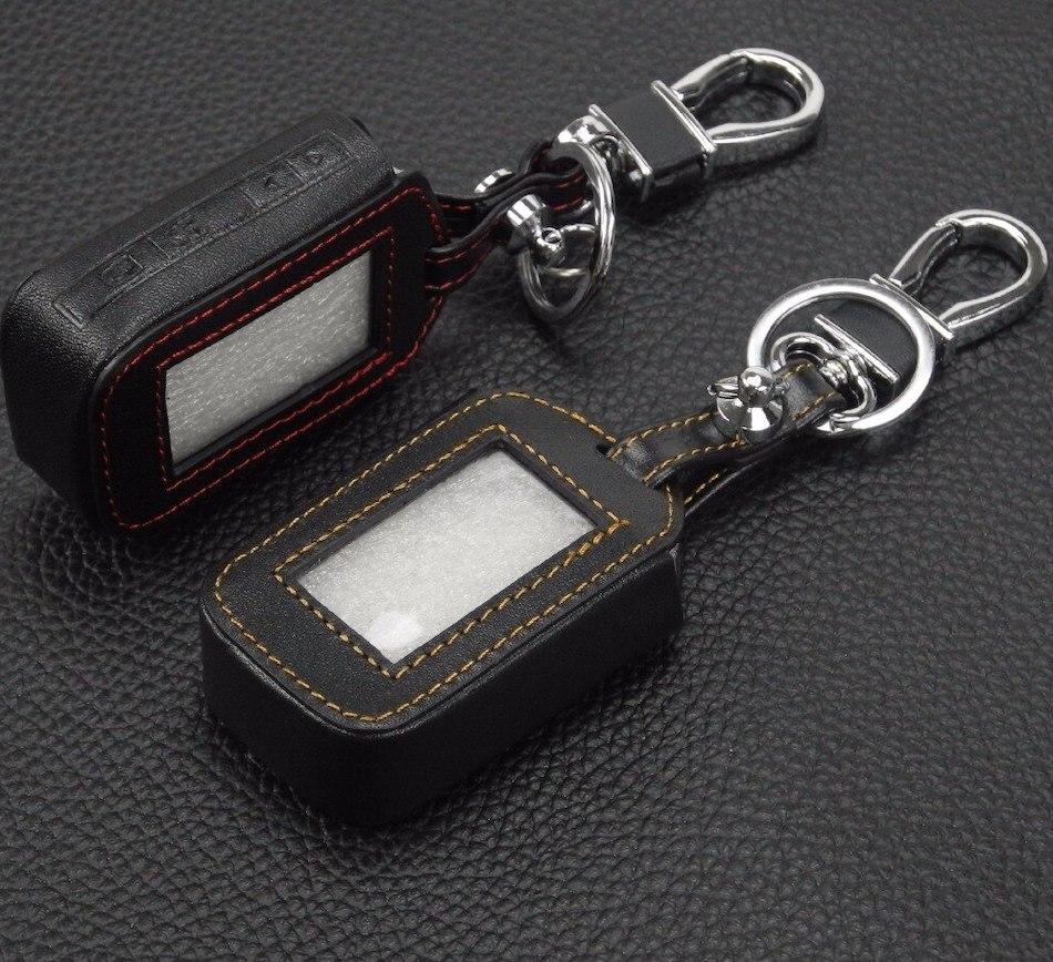 Чехол на брелок сигнализации StarLine E60:E90 кожаный черного цвета