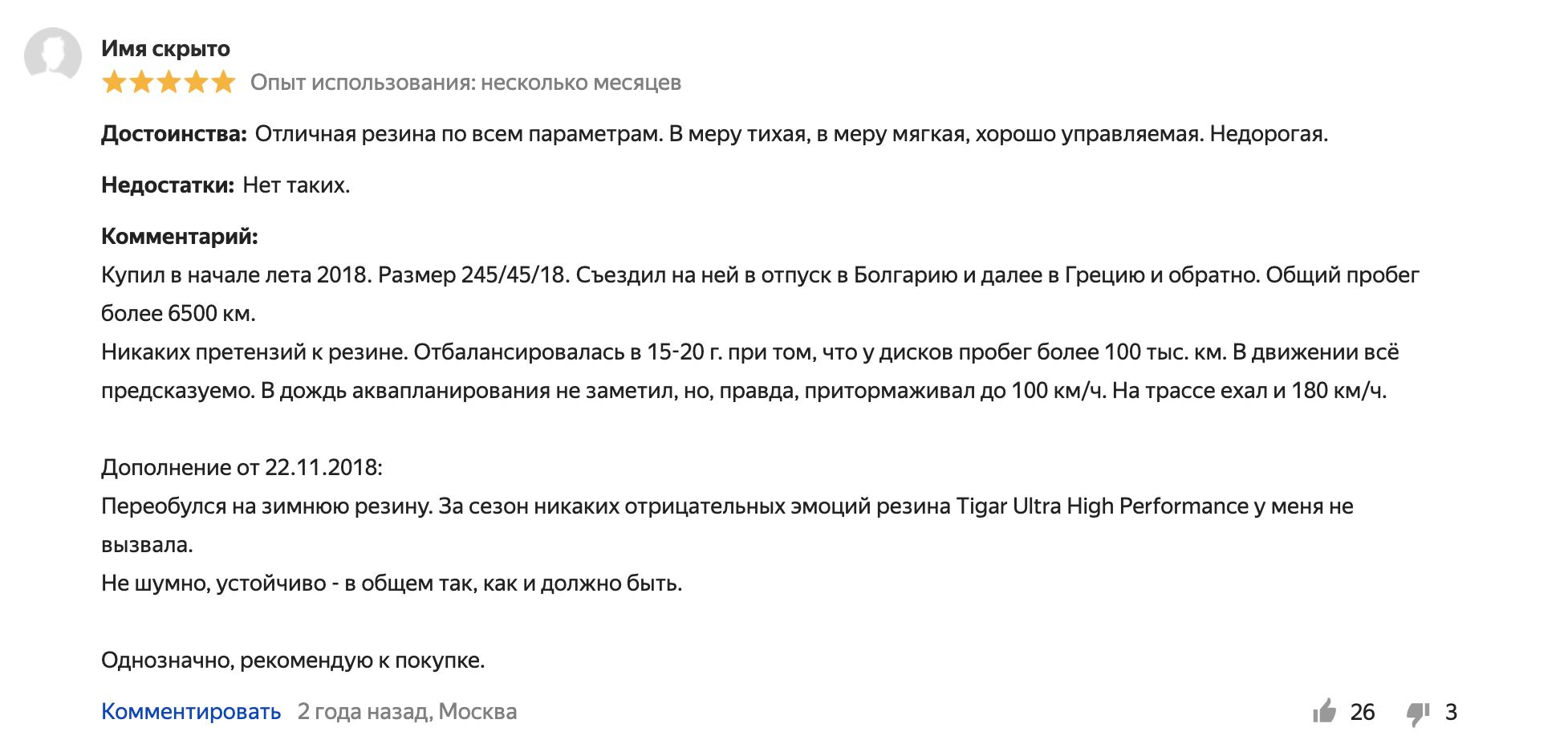 Положительный отзыв о Tigar High Performance