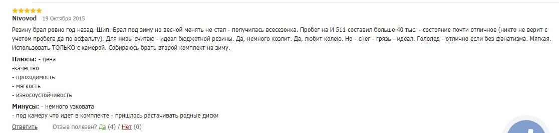 Посетитель с ником Nivovod в отзыве