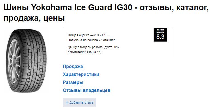 Оценка Yokohama Ice Guard IG30