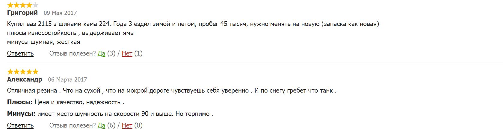 Отзывы на резину «Кама»