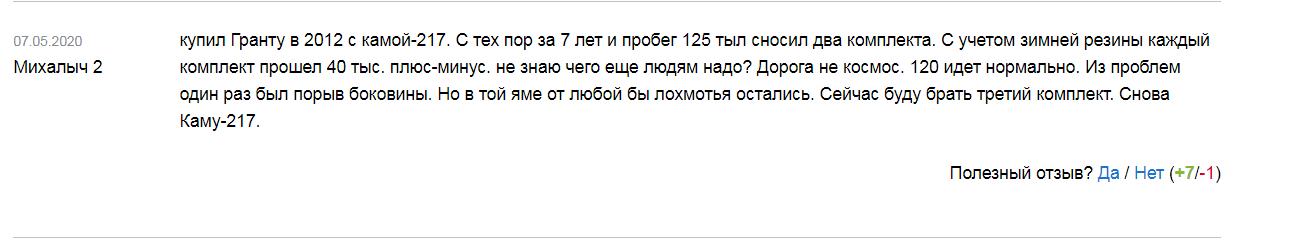 Отзыв о зимней резине «Кама»