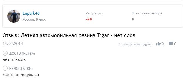 Отрицательный отзыв о Tigar
