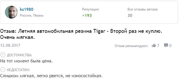 Отзыв о летней резине Tigar