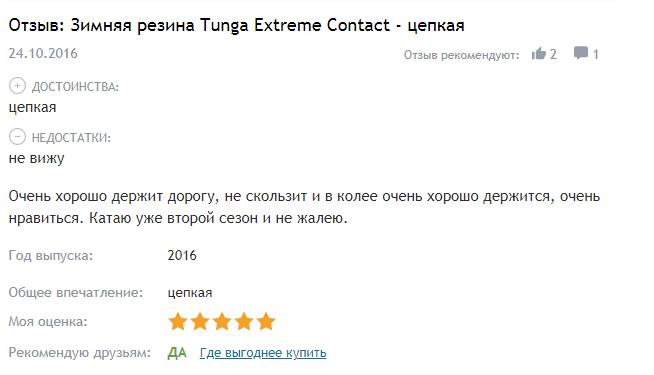 Отзыв Tunga Extreme Contact