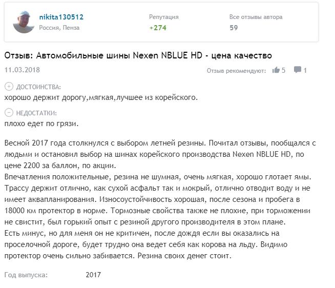 Отзывы о Nexen N'Blue HD Plus