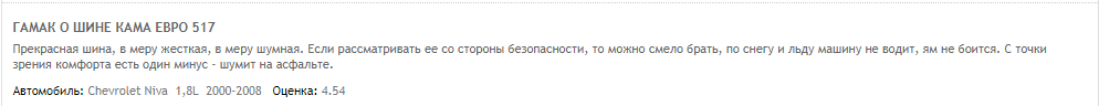 Отзывы о шинах Кама.