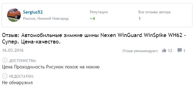 Мнение про Nexen Winguard WinSpike WS62 SUV
