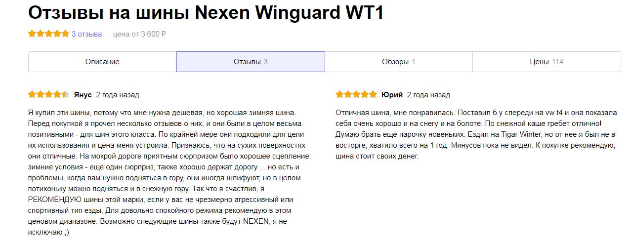 Мнения владельцев про Nexen Winguard WT1