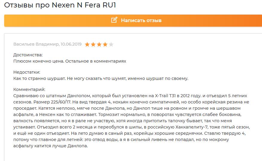 Отзыв про Nexen NFera SU1