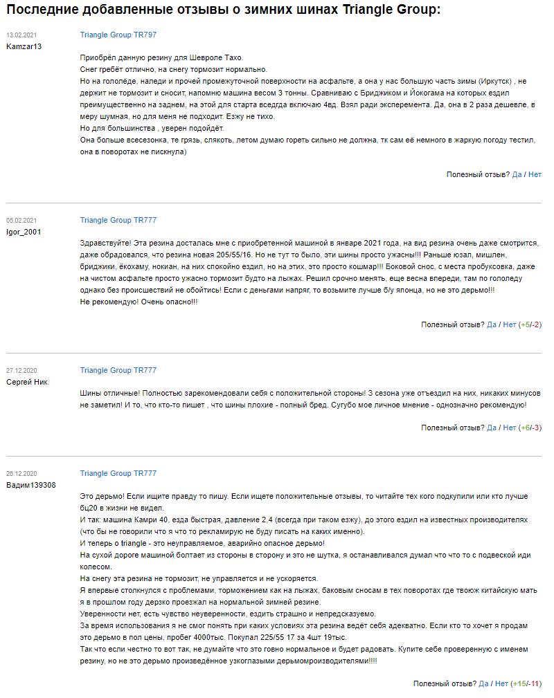 Отзывы о зимних шинах «Триангл»