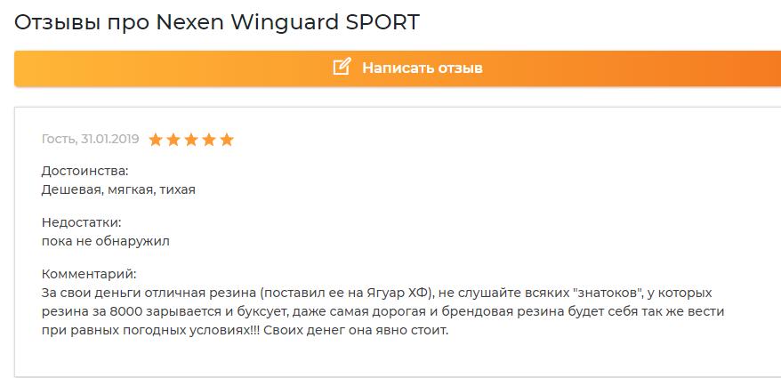 Отзывы про Nexen Winguard Sport 2