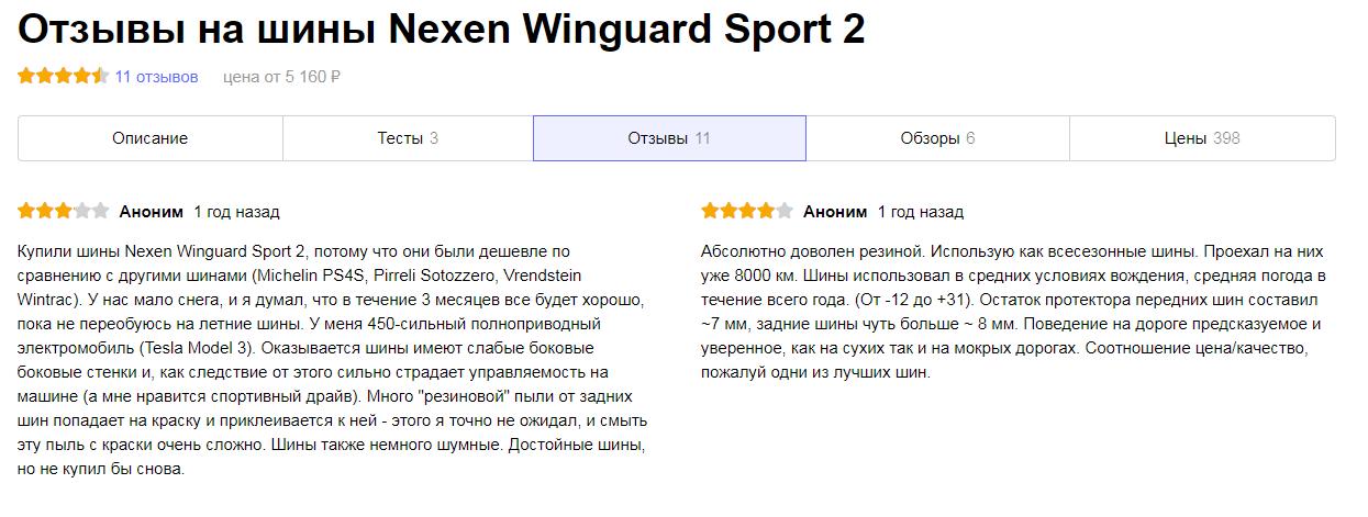 Преимущества и недостатки Nexen Winguard Sport 2