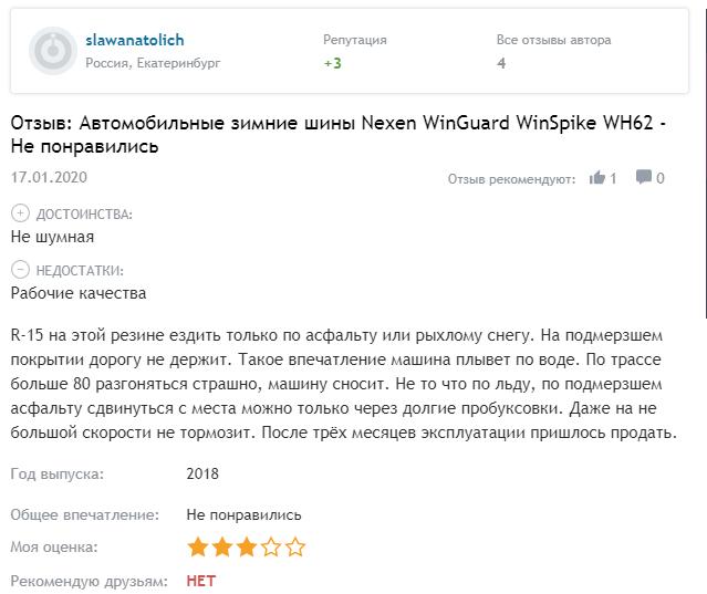 Мнение про Nexen Winguard WinSpike WH62