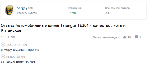 Отзывы о летних шинах Triangle TE301