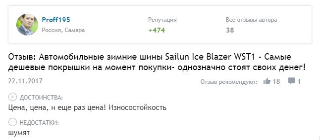 Отзыв о резине Sailun Ice Blazer WST1