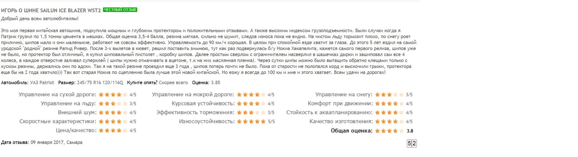 Отзыв о зимней резине марки Sailun Ice Blazer Wst2