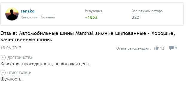 Отзыв о зимних шинах «Маршал»