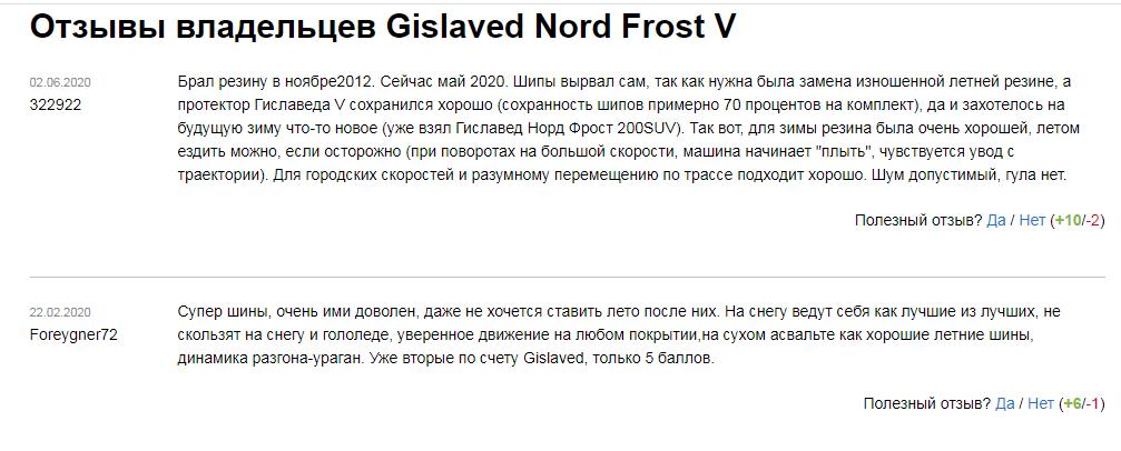 Отзывы на зимнюю резину «Гиславед Норд Фрост 5» существенных минусов не высвечивают