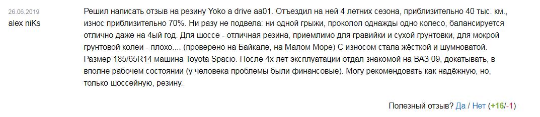 Отзывы о летних шинах Yokohama A.Drive AA01