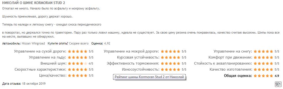 Отзывы о зимней резине марки «Корморан»