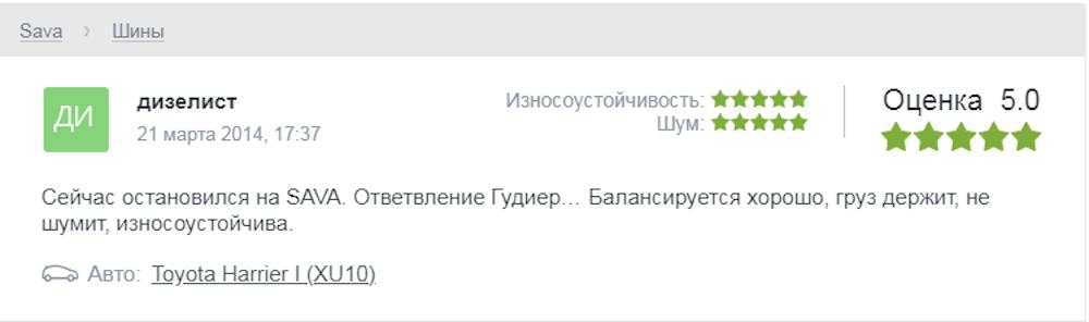 Мнения пользователей о шинах «Сава»