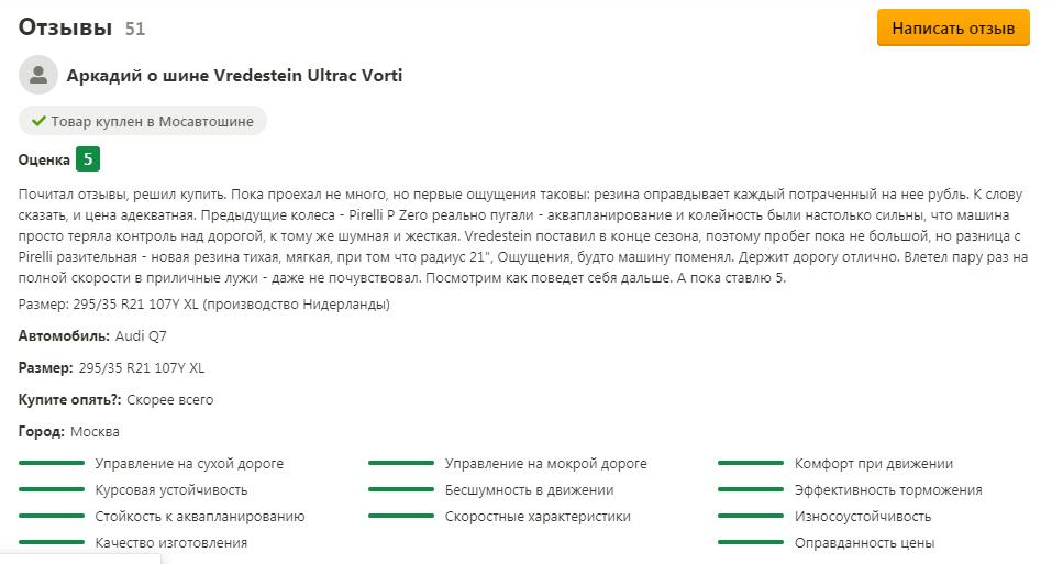 Отзывы автомобилистов о летних шинах Vredestein Ultrac Vorti единодушно доброжелательные