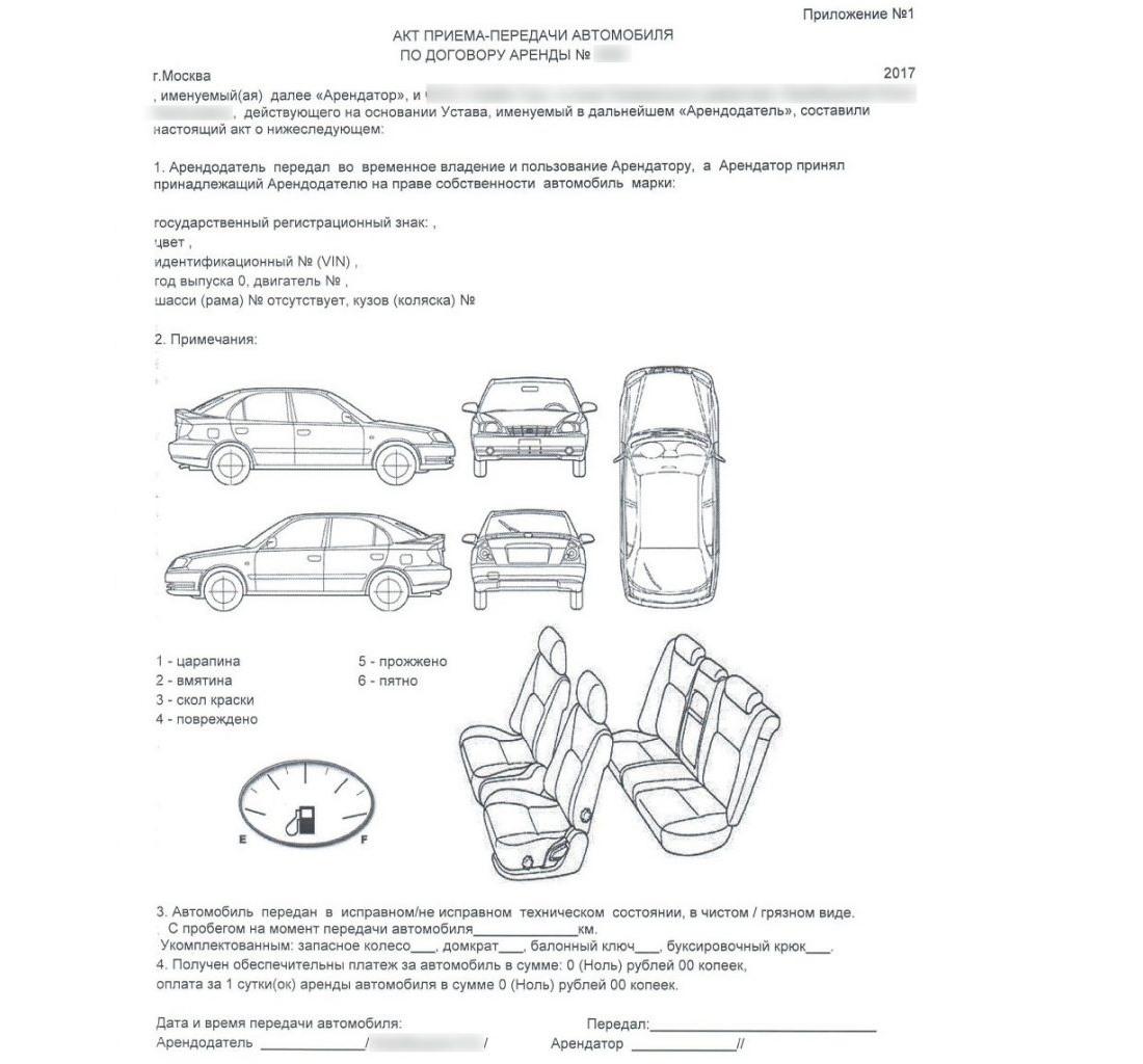 Пример акта приема-передачи автомобиля
