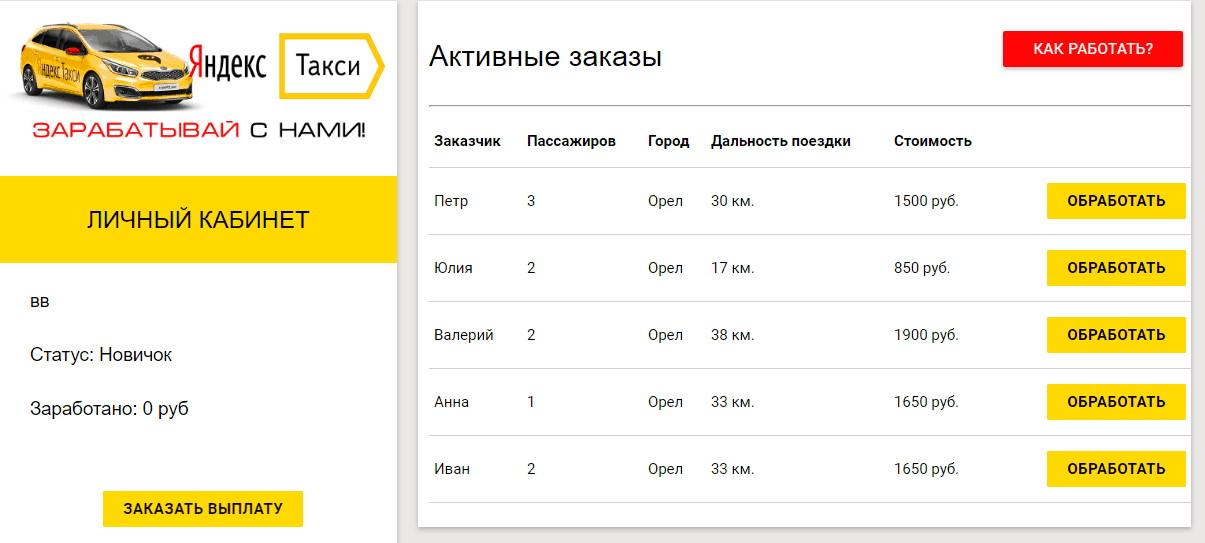 Личный кабинет водителя «Яндекс Такси»