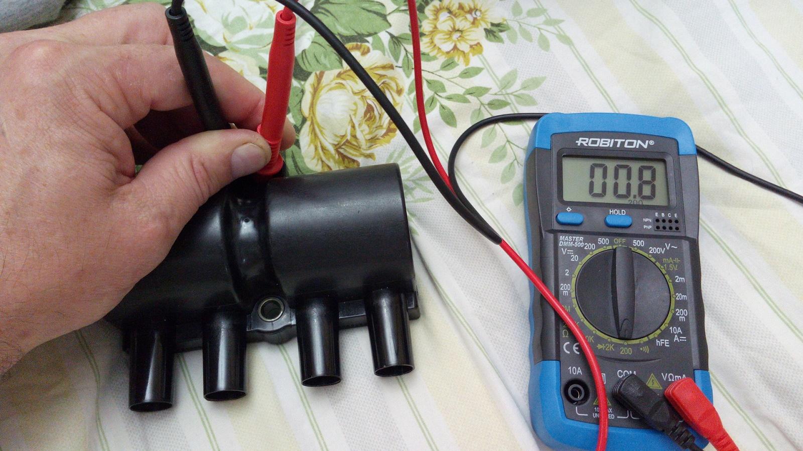 Измерение сопротивления на катушке зажигания